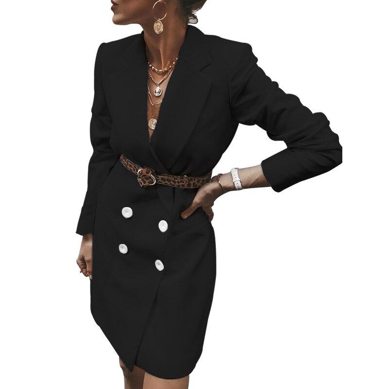 Echoine women's jacket Fashion wild long casual suit autumn winter female blazer tweed white black coat elegant office lady