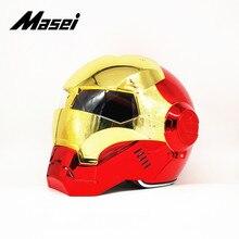 Masei IRONMAN helmet motorcycle half open face casque motocross car accessories sticker casco moto plating
