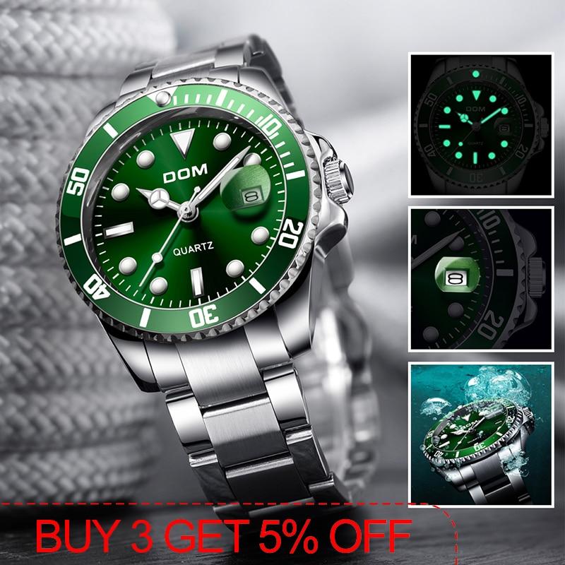 Top Brand Luxury Men's Rolexable Watch Man Sports Waterproof Watches Quartz Stainless Steel Wrist Watch Green Relogio Masculino