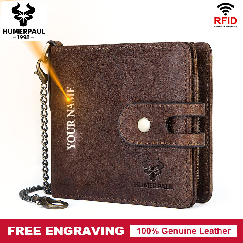 Free Engraving Name Genuine Leather Men Wallet Coin Purse Male Small Credit Card Holder Bill For Short Clamp For Money Bag Chain