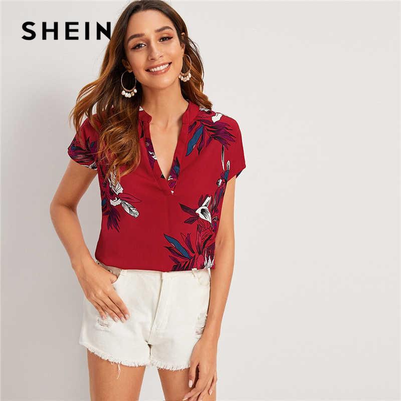 SHEIN Geel V-hals Bloemenprint Notched Blouse Womens Tops en Blouses Zomer Casual Korte Mouw Boho Blouse Dames Top