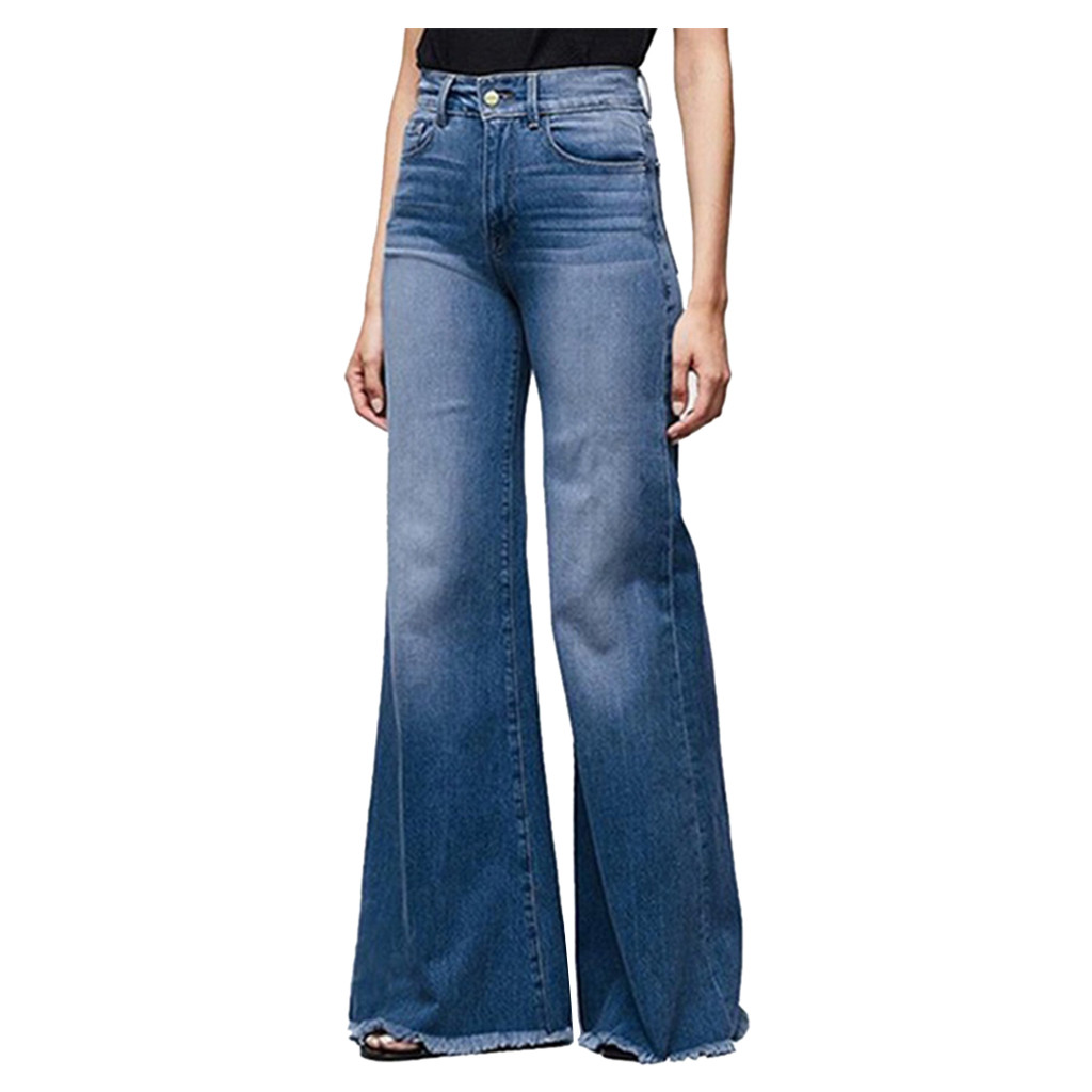 Wide Leg Denim Jeans Women Hight Waisted Flare Bell Bottoms Ladies Sexy Stretch Slim Pants Length Jeans Denim Trousers