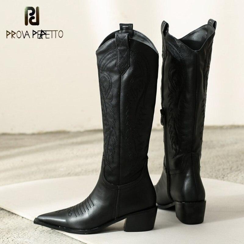 Prova Perfetto Clássico Bordado Botas de Cowgirl Ocidental Botas De Cowboy de Couro para As Mulheres Saltos Baixos Sapatos de Alta Joelho Mulher Botas