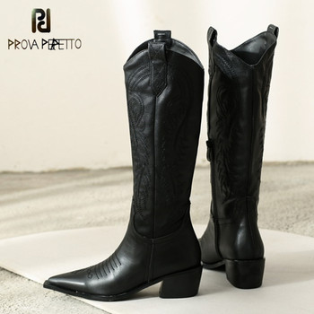 Prova Perfetto Classic Embroidered Western Cowboy Boots for Women Leather Cowgirl Boots Low Heels Shoes Knee High Woman Boots