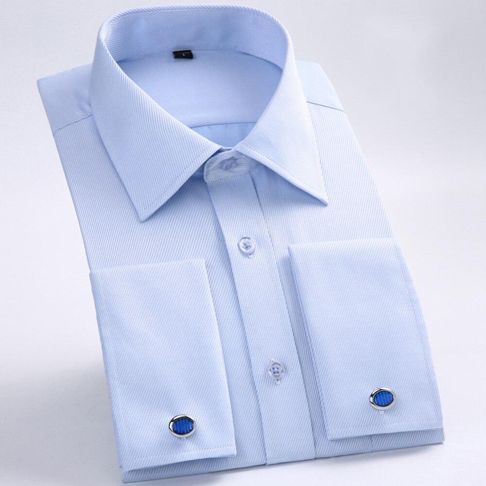 Men's Dress Shirts Loose French Cuff Regular fit Luxury Striped Business Long Sleeve Cufflinks Social Pluse Size Men Shirt 6XL 18