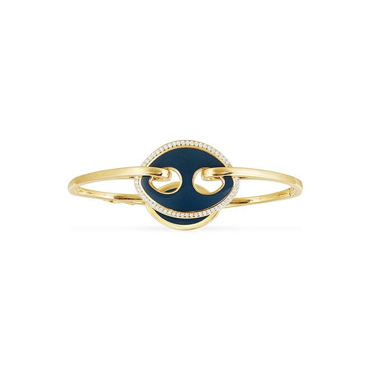 Nouveauté or couleur 925 argent Sterling Double forme ovale marine Zircons émail bracelet à breloques bracelet femmes cadeau de noël