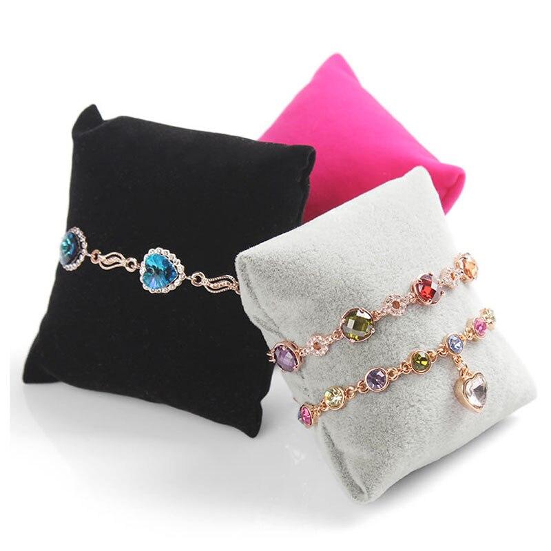 Velvet Pillow Bracelet Bangle Watch Chain Holder Jewelry Display Stand Organizer