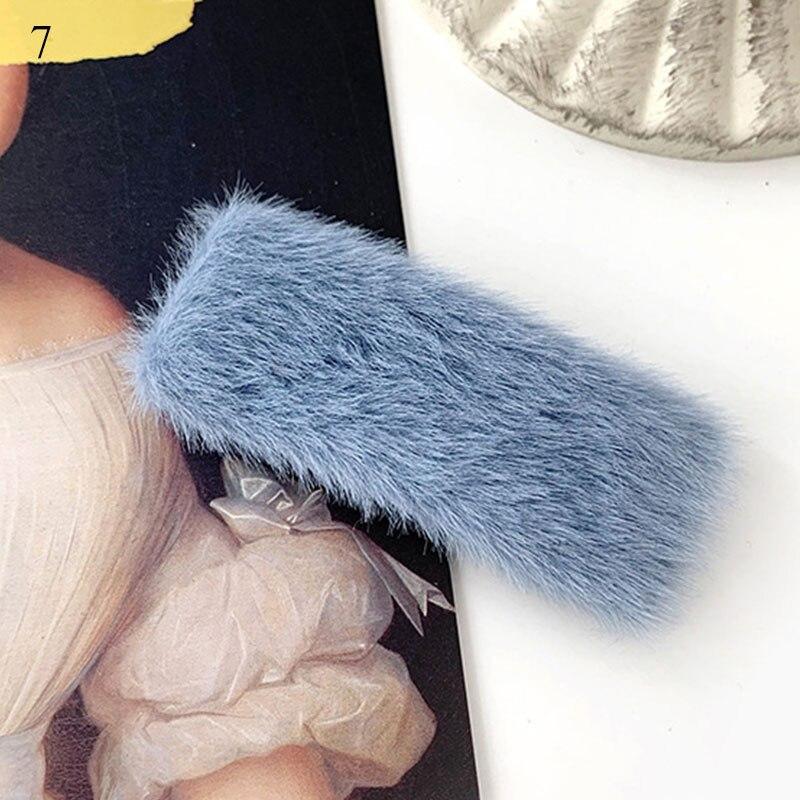 1 шт. искусственный мех капли квадратные заколки для волос шпильки с плюшевыми шариками осень зима мягкие однотонные заколки аксессуары для волос Зажимы для челки - Цвет: 7
