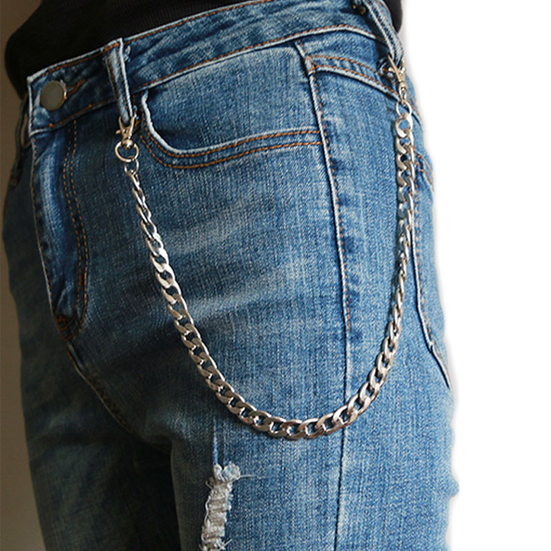 Long Metal Wallet Chain Leash Pant Jean Keychain Ring Clip Men's Hip Hop Stainless Steel Jewelry
