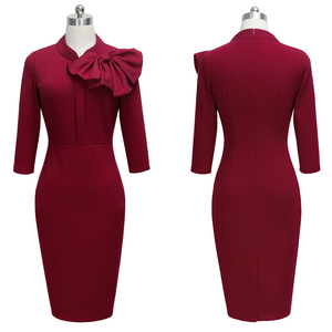 Image 3 - נחמד לנצח בציר אלגנטי פרחוני עם שחור Bow לעבוד vestidos משרד עסקי המפלגה Bodycon נשים נדן שמלת btyB244