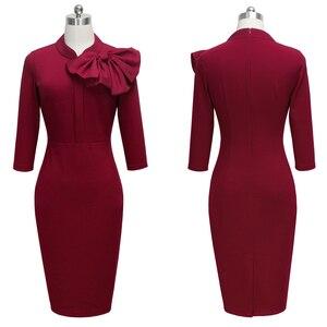 Image 3 - لطيفة للأبد خمر أنيقة الأزهار مع القوس الأسود العمل vestidos مكتب الأعمال Bodycon المرأة فستان ضيق btyB244