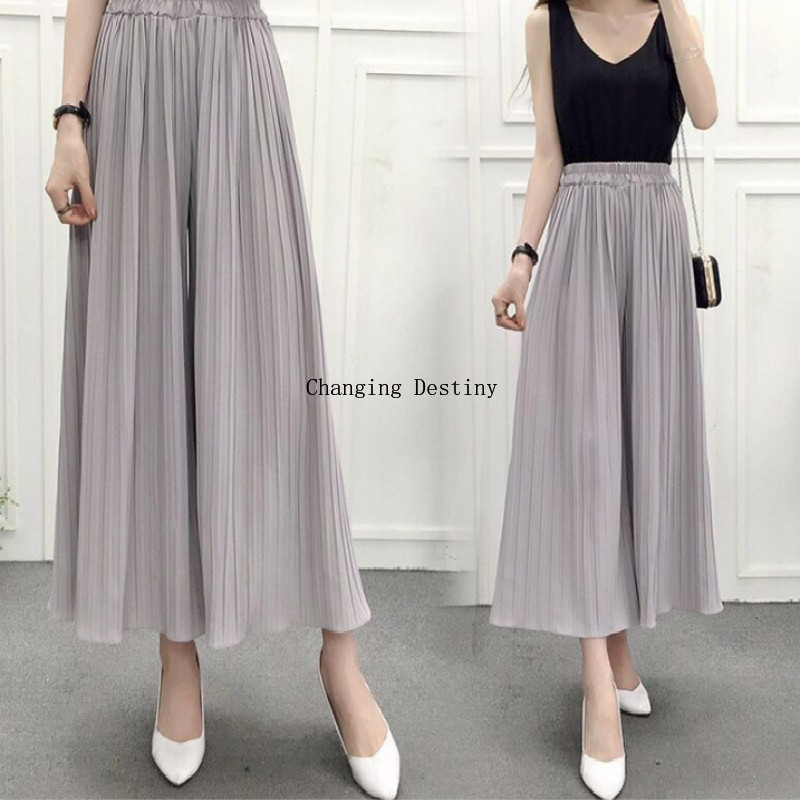 Summer Ladies High Waist Pleated Chiffon   Wide     Leg     Pants   Female Fashion Three-dimensional Palace   Pants   Loose Bell   Pants