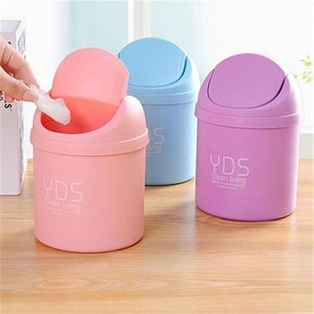 Mini Waste Bin Desktop Home Plastic Roller Cover Garbage Basket Table Trash Can Swing Office Rubbish Bag Holder Table Bucket office kitchen hanging garbage storage bucket rubbish box plastic trash can wall mounted waste trash bin mini desktop dustbin