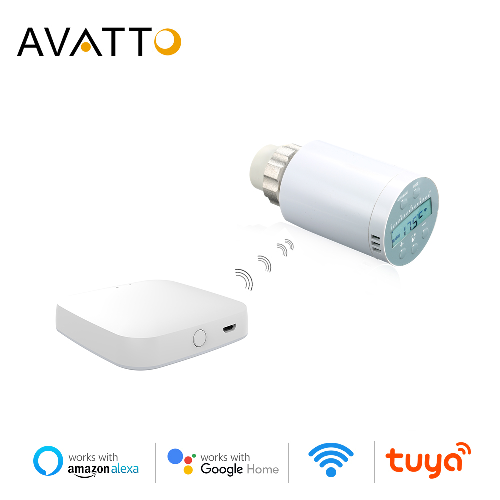 AVATTO Smart Thermostat Temperature Controller,Zigbee Remote Thermostatic Radiator Valve Controller Works With Alexa Google Home