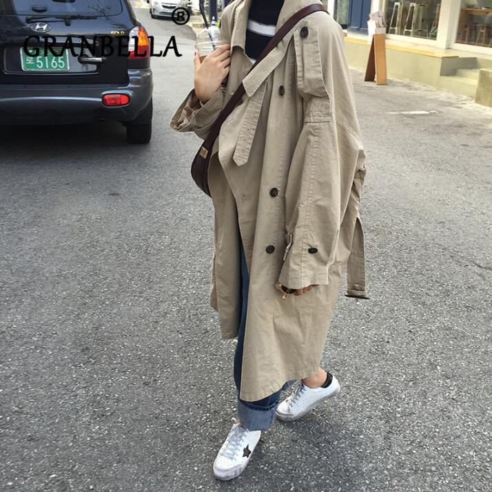 2019 Hot Korea Autumn Mid-long   Trench   Coat Solid Color Double Breasted Turn-Down Collar Loose Women Coats Casual Outerwear
