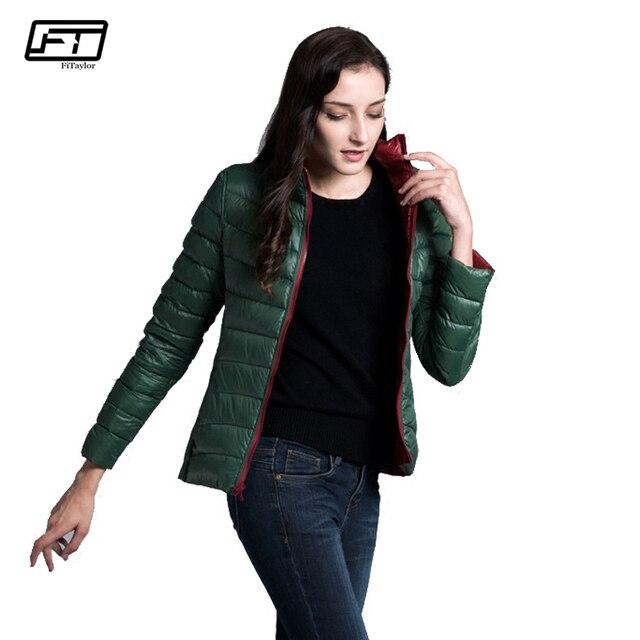 Fitaylor New Winter Women Down Jacket Ultra Light 90% White Duck Down Double Side Coats Short Design Slim Warm Parkas 4