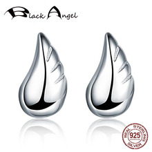Genuine 925 Sterling Silver Feather Fairy Angel Wings Stud Earrings Silver for Women Fine Silver Jewelry wholesale sale genuine 925 sterling silver feather necklace fine jewelry crystals from swarovski 925 jewelry beads