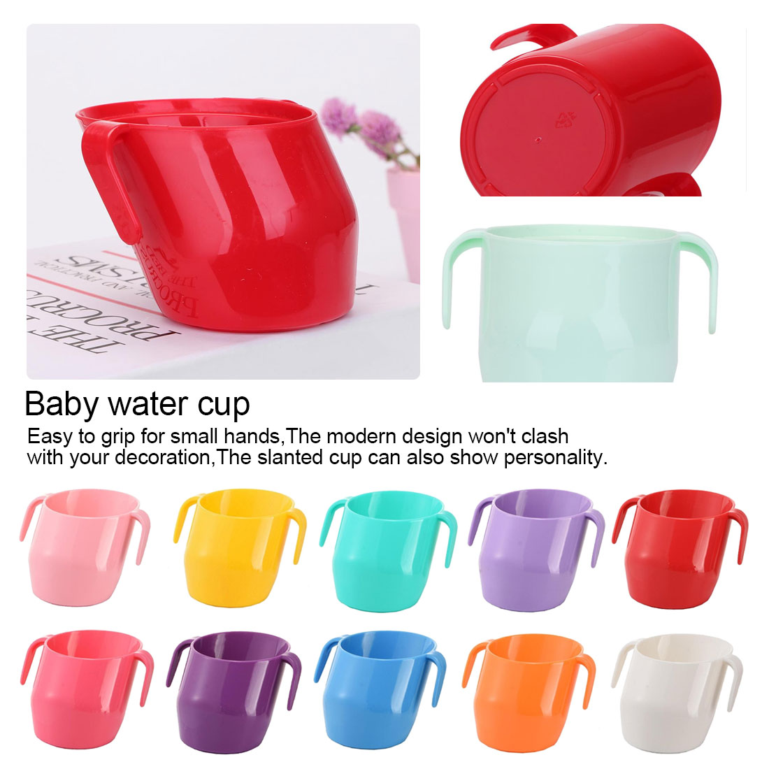 200ML Kids Water Cup PP Baby Training Feeding Cup With Handle Bevel Mouth Safe Leakproof Cup Learning Drinking Cups