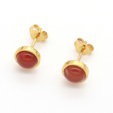 FYJS Unique Light Yellow Gold Color Small Round Red Agates Stud Earrings for Women Jewelry