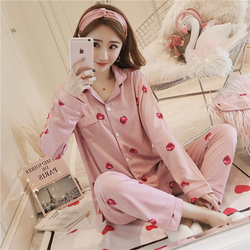 Pajamas Women Long Sleeve Spring And Autumn Summer Set Strawberry Korean-style-Outer Wear Sweet Cute Tracksuit Send Eye Patch