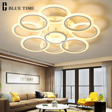 Blue Time White Body Modern LED Chandelier Lamps For Living Room Dining Room Bedroom Acrylic Lampshade LED Chandelier Lighting(China)