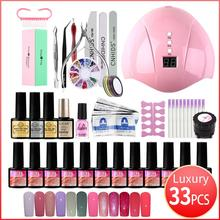 Nail Art Set UV LED Lamp Dryer 36W Nail Gel Polish Kit Soak Off Manicure Set Nails drill For Nails Art Tools 14/18/27/33pcs/set 3 pcs set kit lvmay brand painting gel polish nail art color 3d drawing paint curing lamp soak off professional nails top it off