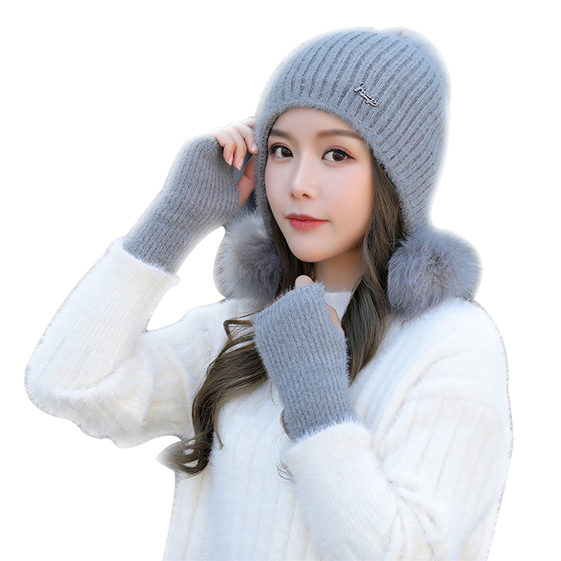 2/set Winter New Wool Hat Ladies Plus Velvet Thick Knit Caps And Gloves Fashion Cute Pompom Beanies Winter Accessories For Girl