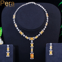 Pera Bridal Yellow Long Big Dangle Drop Jewelry Sets Square Oval Cubic Zirconia Stone Earring and Necklace for Brides Gift J284