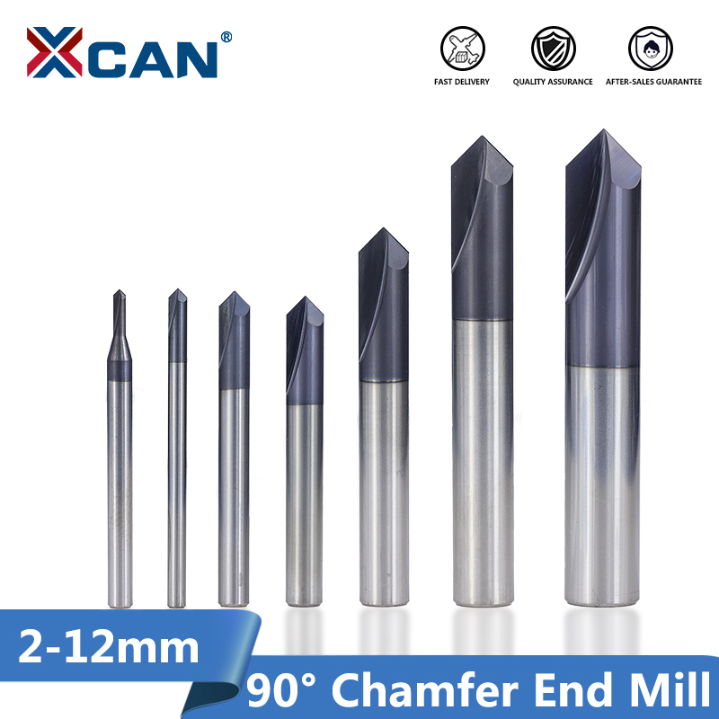 XCAN 1pc 90 Degrees Chamfer End Mill 2-12mm 2 Flute Chamfer Cutter Chamfer Router Bit Carbide End Mill