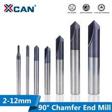 XCAN fin à chanfrein en carbure, 90 degrés, 2 12mm, 2 cannelures