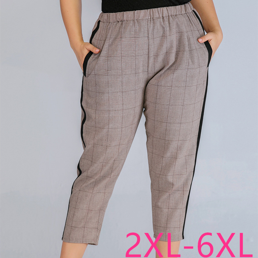 2020 Summer Plus Size Pencil Pants For Women Loose Casual Elastic Waist Thin Plaid Stripe Long Trousers Khaki 3XL 4XL 5XL 6XL