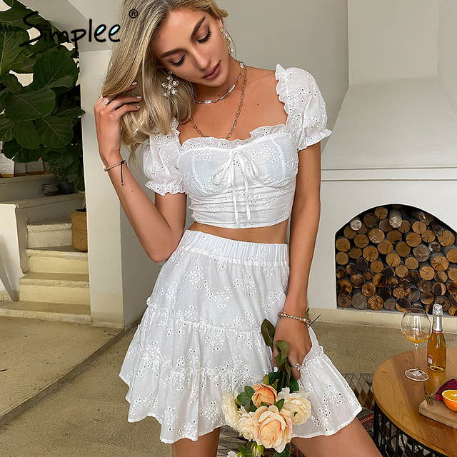 Simplee Roman holiday style two pieces ruffled women set summer Romantic puff sleeve top and embroidery skirt Bow sash slim suit 4