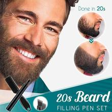 Beard Filling Pen Kit Barber Pencil With Brush Salon Facial Hair Engraving Styling Eyebrow Tool Male Mustache Repair Shape