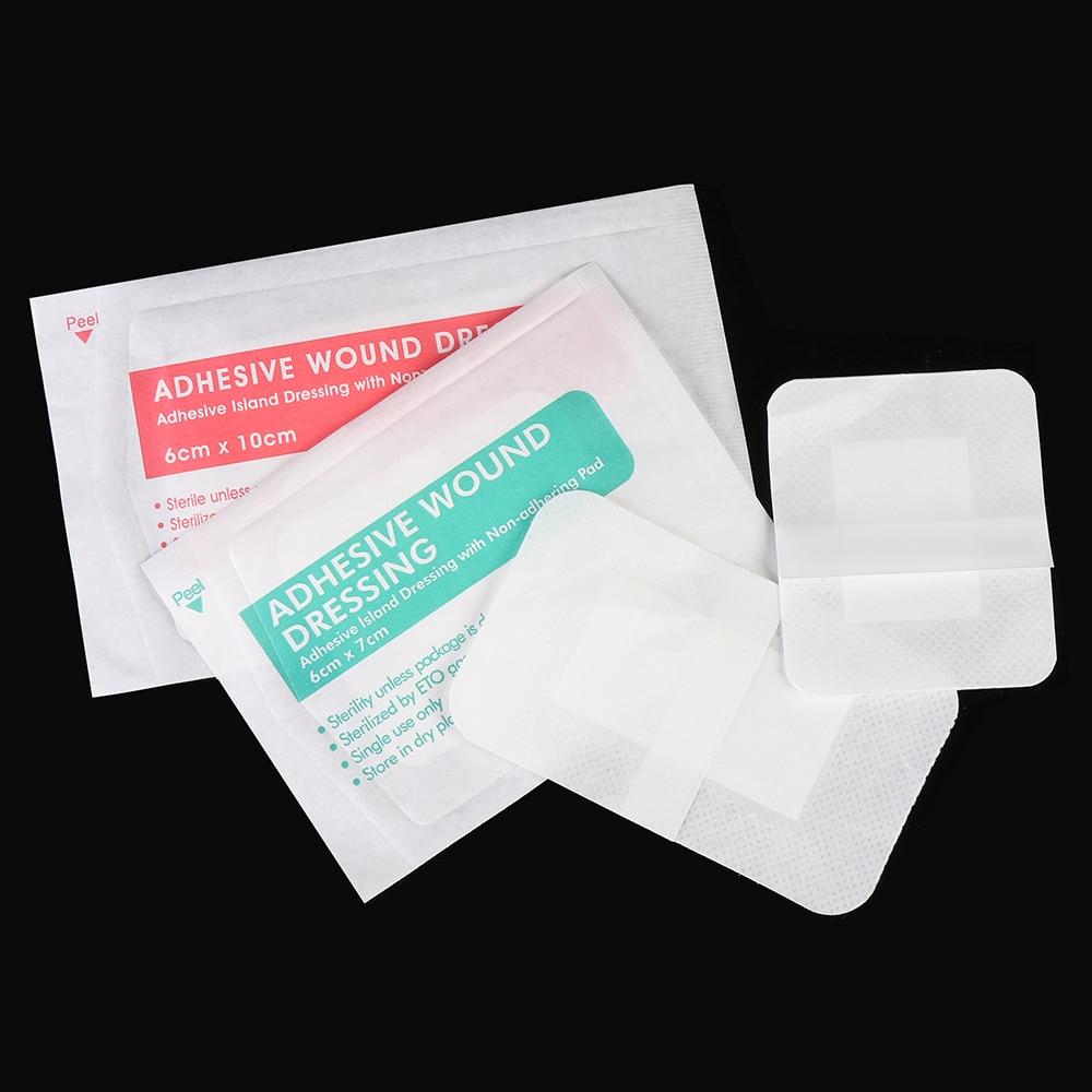 10 pces 6x7cm 6x10cm respirável auto-adesivo curativo bandagem de bandagem de primeiros socorros ferida grande hemostase ferida