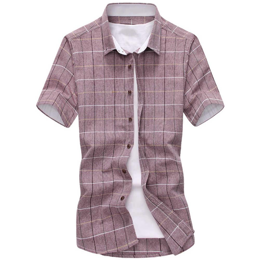 ファッションメンズチェック柄シャツ綿半袖ターンダウン襟夏カジュアルトップ