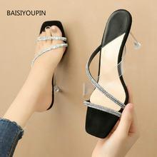 Fashion transparent summer women pumps slippers casual 75cm