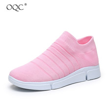 Купить с кэшбэком OQC New Women Casual Shoes Soft Bottom Flying Woven Socks Shoes Casual Lightweight Outsole Breathable Fashion Mesh Sneakers D30