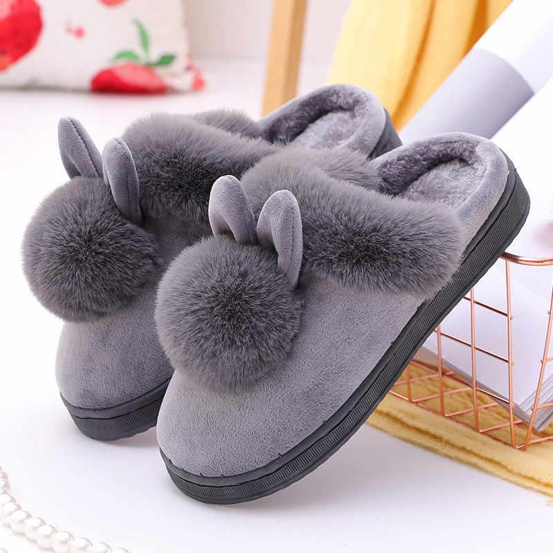 Frauen Winter Hausschuhe Pelzigen Kaninchen Ohren Plüsch samt Schnee Weibliche Pantoffel Indoor Hause Schuhe Plus Größe Damen Weichen Komfort Schuhe