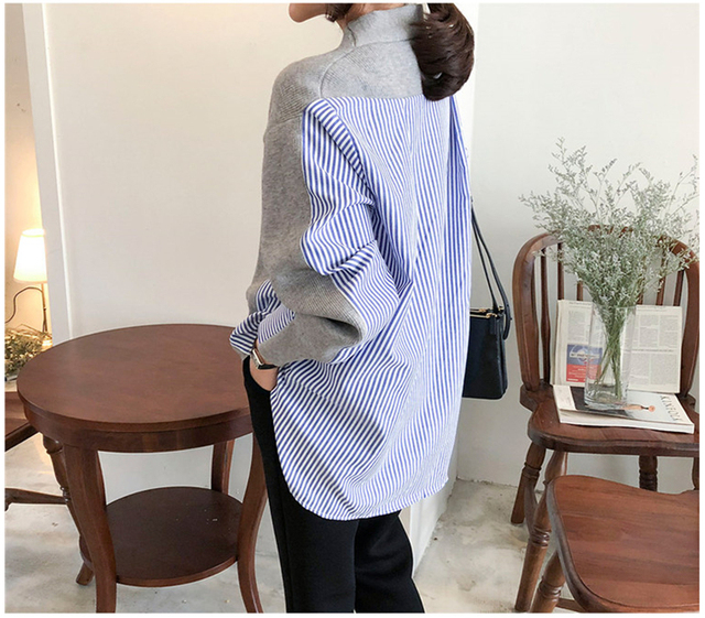 Ailegogo New 2020 Women's Autumn Sweaters Patchwork Srtiped Knitting V-Neck Cardigans Casual Single Breasted Loose Tops 3
