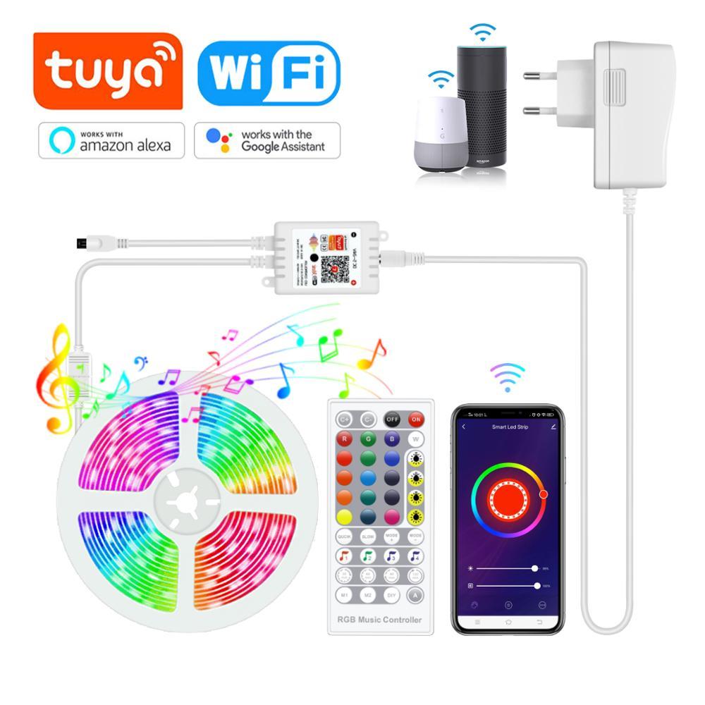 Tuya Smart Life DC12V 1/2/3/4/5/10/15 м RGB светодиодная полоса WiFi и Голосовое управление тыловая Подсветка работает с Alexa Echo/Google Home