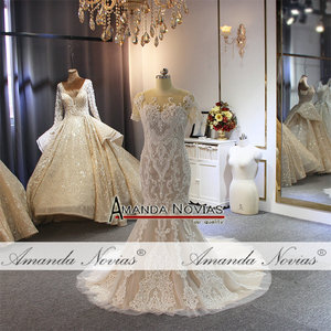 Image 5 - Full beading lace wedding dress champagne color with detachable train 2019 wedding gowns