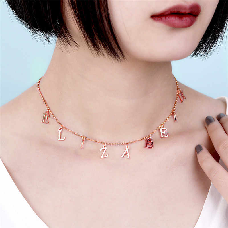 Ailin nome colar cor de ouro nome personalizado colar placa de identificação pingente gargantilha carta colar personalizado colares presente das mulheres