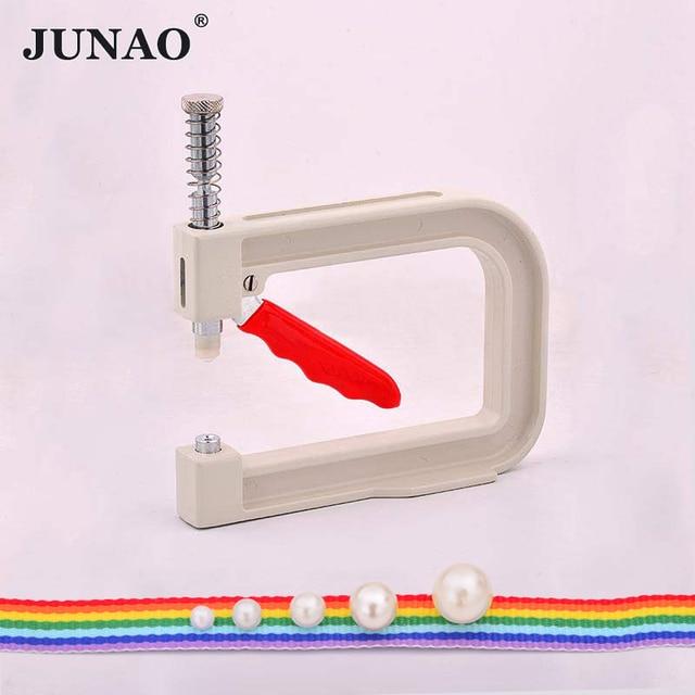 JUNAO 4 5 6 8 10mm White Pearl Beads Pearl Setting Machine Rhinestone Hand Press Tools Rivet Machine for Crafts Sewing Supplies