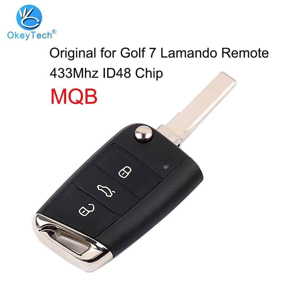 OkeyTech pour Volkswagen V W Golf 7 Lamando Tiguan L télécommande clé intelligente Original MQB Flip pli 3 bouton HAA lame 433Mhz ID48 puce
