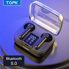 TOPK T20 TWS ที่รองรับบลูทูธ5.0หูฟังหูฟังไร้สายลายนิ้วมือ Touch กีฬากันน้ำชุดหูฟังหูฟัง