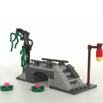 Stadt MOC Creator Zubehör Willow Brücke Blumen Spielzeug Für Kinder Erziehen Fluss Straße Lampe Städten Kompatibel Bausteine