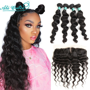 Ali Grace Hair Loose Wave Bundles with Frontal 13x4 Middle Part Brazilian 3 Bundles With Closure Ear to Ear Medium Brown Lace(China)