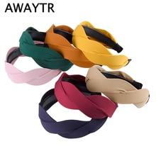 AWAYTR New Fashion Wave Shape Fabric Headband For Women Korean Wild Wide-brimmed Hairband Summer Autumn Ladies Hair Accessories