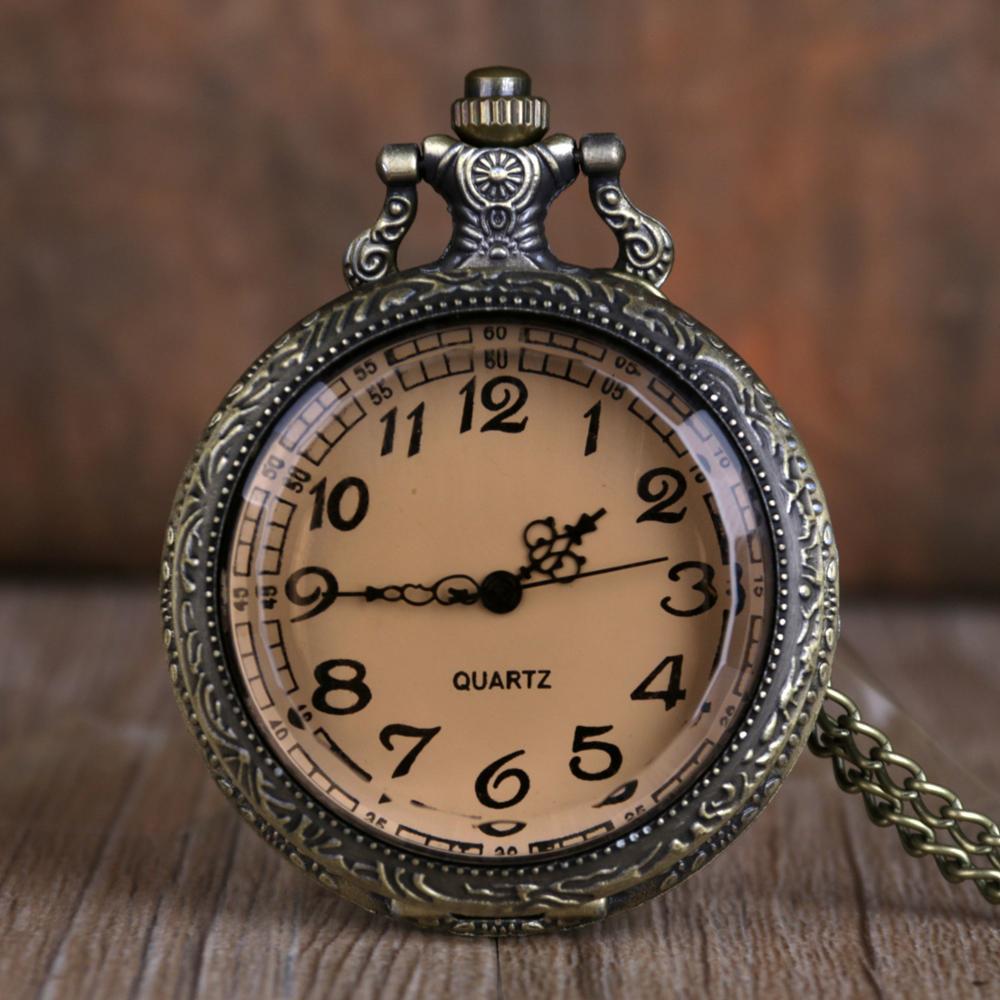 Top Brand Dark Brown Transparent Glass Pocket Watches Beautiful Fashion Color Quartz Pocket Watches Best Gifts Men Women Watches