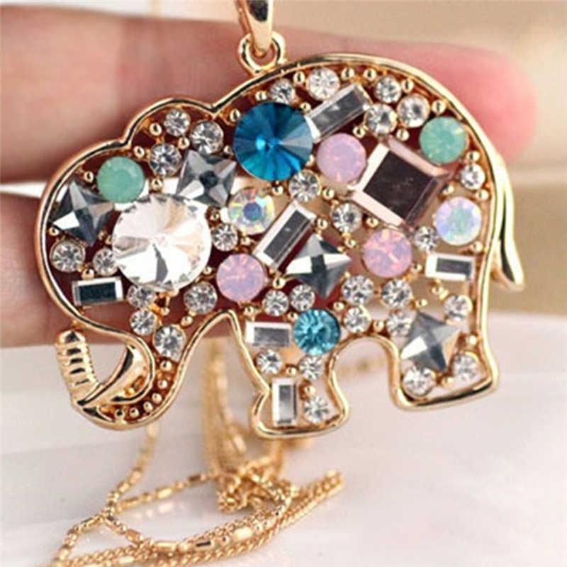 Moda kristal şanslı güzel fil kolye Pednat kolye uzun zincir
